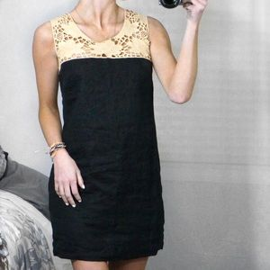 Ann Taylor LOFT Black Crochet Linen Shift Dress